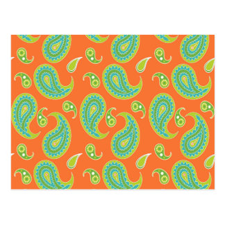 Blue-Green Paisley on Bright Orange Postcard