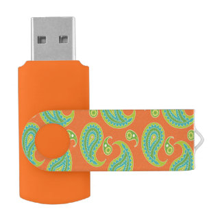 Blue-Green Paisley on Bright Orange Swivel USB 2.0 Flash Drive