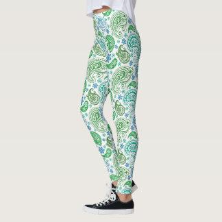 Blue & Green Paisley Pattern Leggings