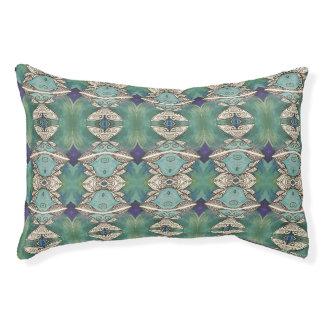 blue green pattern dog bed
