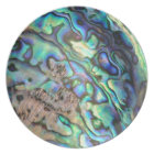 Blue green paua abalone shell detail plate