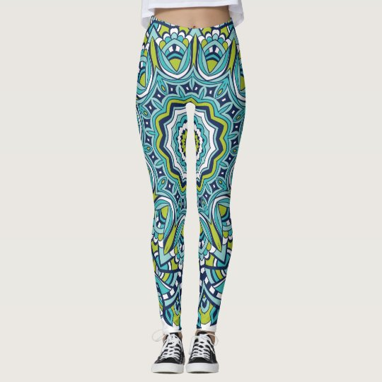 Blue Green Peace Mandala Leggins Leggings