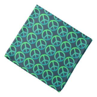Blue-Green Peace Sign Bandana