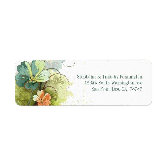 Blue green + peach floral wedding address label