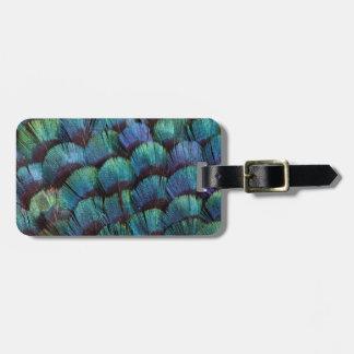 Blue-green pheasant feather design bag tag