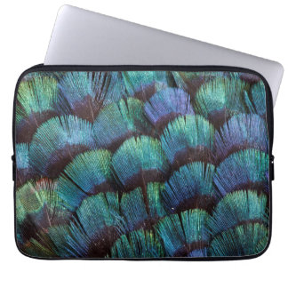 Blue-green pheasant feather design laptop sleeve