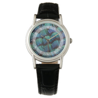 Blue-green pheasant feather design wrist watches
