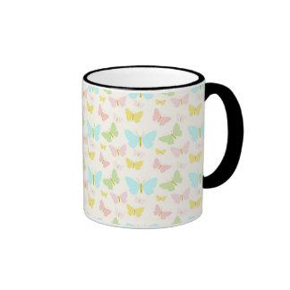 Blue green pink yellow butterflies ringer mug