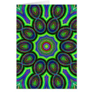 Blue, Green, Pink, Yellow Kaleidoscope Card