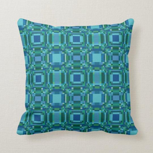 Blue Green Pixelated Geometric Cushion