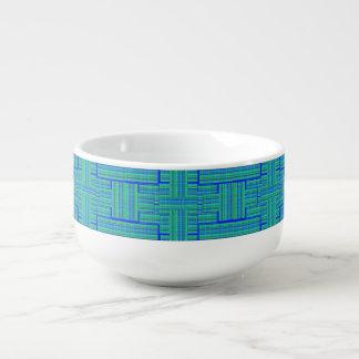 blue green plaid soup mug
