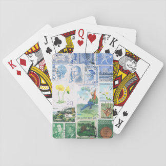 Blue Green Playing Cards, Parachute Postage Stamp Poker Deck