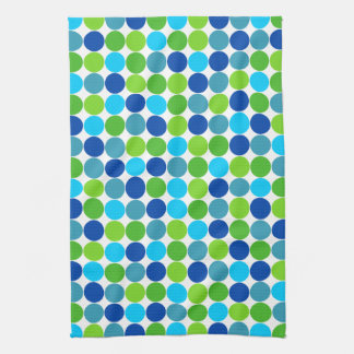 Blue Green Polka Dot Kitchen Towel
