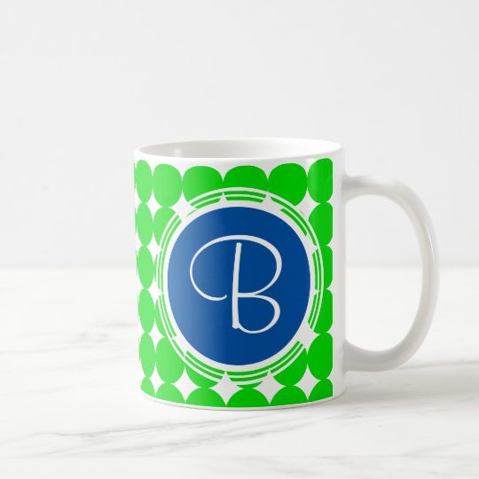 Blue & Green Polka Dot Monogram Coffee Mug