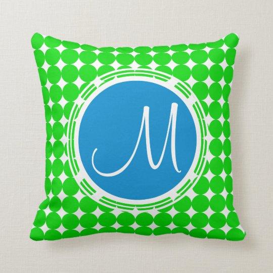 Blue & Green Polka Dot Monogram Cushion