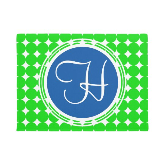 Blue & Green Polka Dot Monogram Doormat