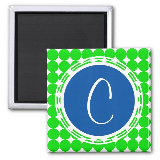 Blue & Green Polka Dot Monogram Magnet