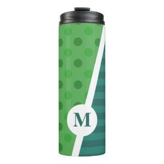 Blue & Green Polka Dots and Stripes: Monogram Thermal Tumbler