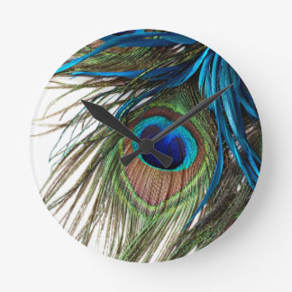 Blue Green Purple Exotic Peacock Feather Round Clock