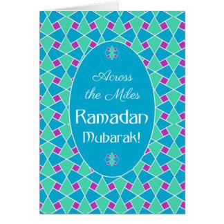 Blue, Green, Purple Ramadan Card, Islamic Pattern
