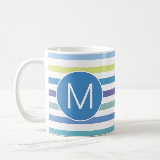 Blue Green Purple Stripes Monogram Initial Letter Coffee Mug