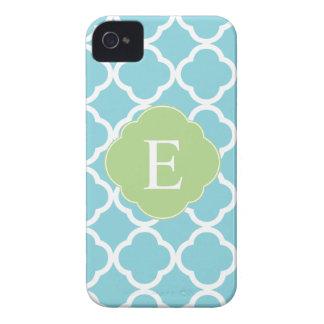 Blue Green Quatrefoil Monogram Case-Mate iPhone 4 Cases