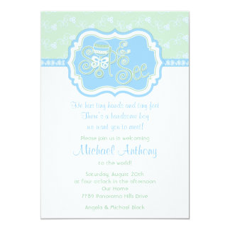 Blue Green Rattle Lace Sip N See Baby Shower Card
