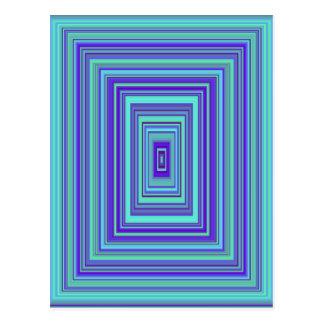 Blue Green Rectangles Kaleidoscope Art Postcard