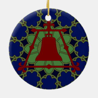 Blue, Green Red Stained Glass Fleur Design Christmas Ornament
