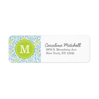 Blue & Green Retro Floral Damask Custom Monogram