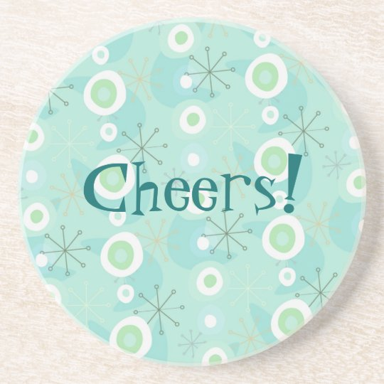 Blue-Green Retro Pattern Customisable Coaster