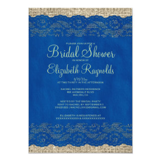 Blue & Green Rustic Lace Bridal Shower Invitations