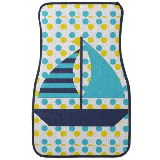 Blue Green Sail Boat Car Mat