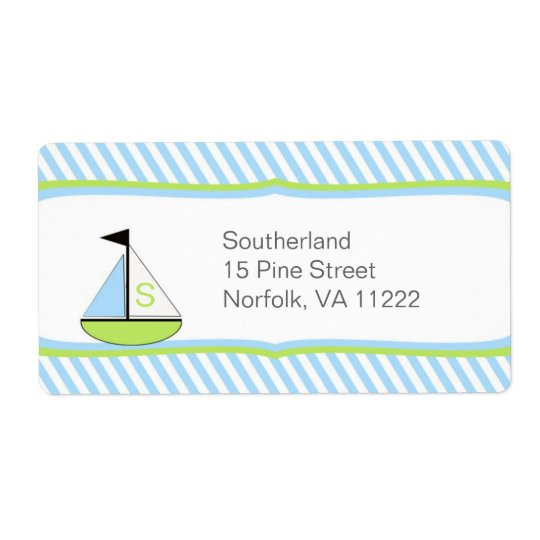 Blue Green Sailboat Baby Shower Address or Favour Shipping Label