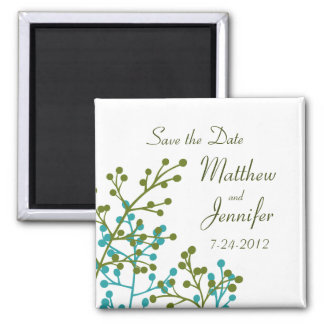 Blue Green Save the Date Magnet - Square Magnet