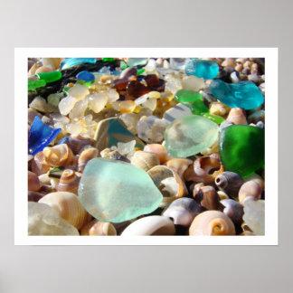 Blue Green Seaglass art prints Coastal Decorative Poster