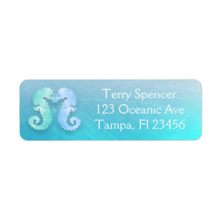 Blue Green Seahorses Return Address Label