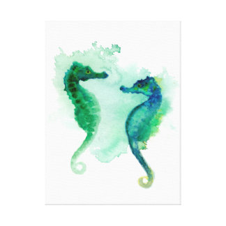 Blue green seahorses white canvas seahorse