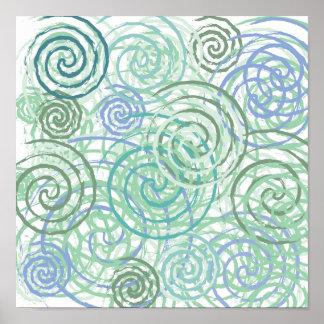 Blue Green Seaside Swirls Beach House Design Poster