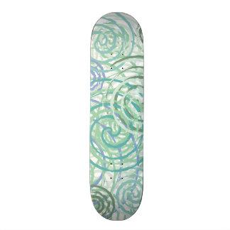 Blue Green Seaside Swirls Beach House Design Skate Board Decks