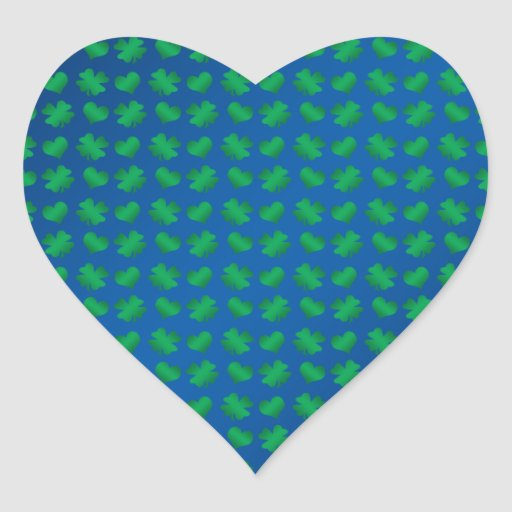 Blue green shamrocks and hearts sticker