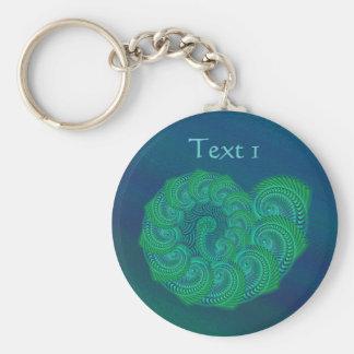 Blue, Green Shell. Abstract Art Design. Key Ring