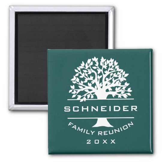 Blue Green Silhouette Tree Family Reunion Souvenir Magnet
