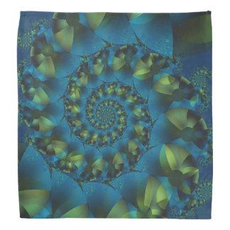 Blue & Green Spiral Fractal Bandana