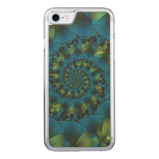 Blue & Green Spiral Fractal iPhone 6 Wood Carved iPhone 8/7 Case