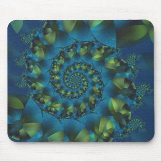 Blue & Green Spiral Fractal Mousepad