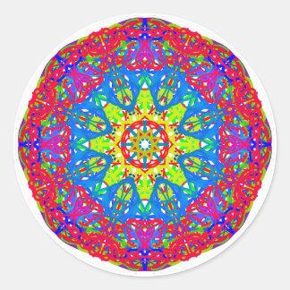 Blue Green Star Round Sticker, Glossy Round Sticker
