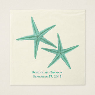 Blue Green Starfish Couple Wedding Disposable Napkins