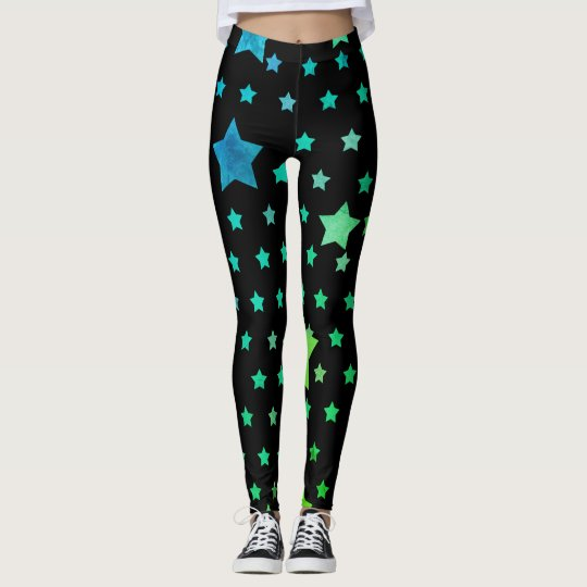 Blue Green Stars Athleisure Yoga Pants Leggings