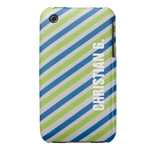 Blue green stripe pattern custom name personal iPhone 3 covers